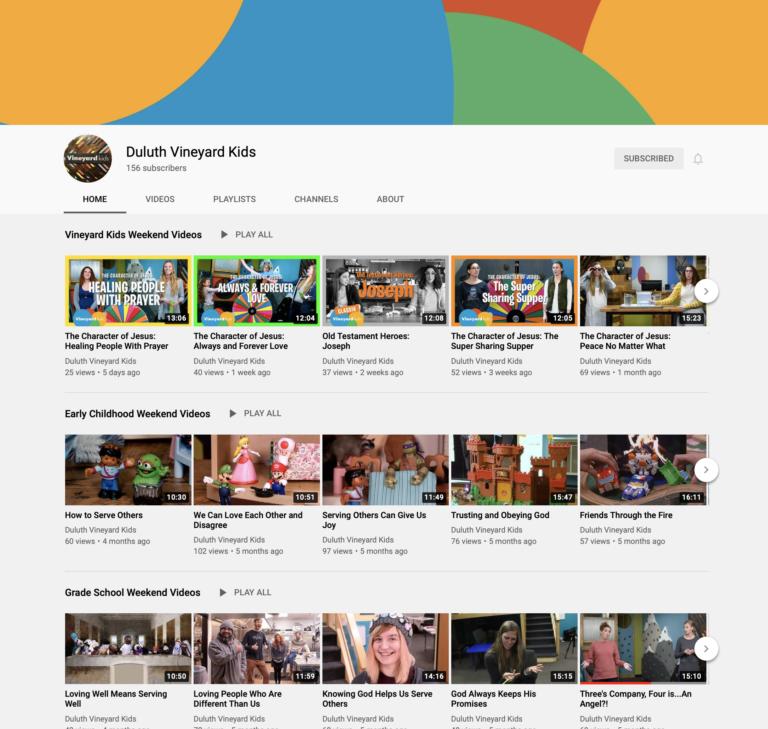 Vineyard Kids YouTube page